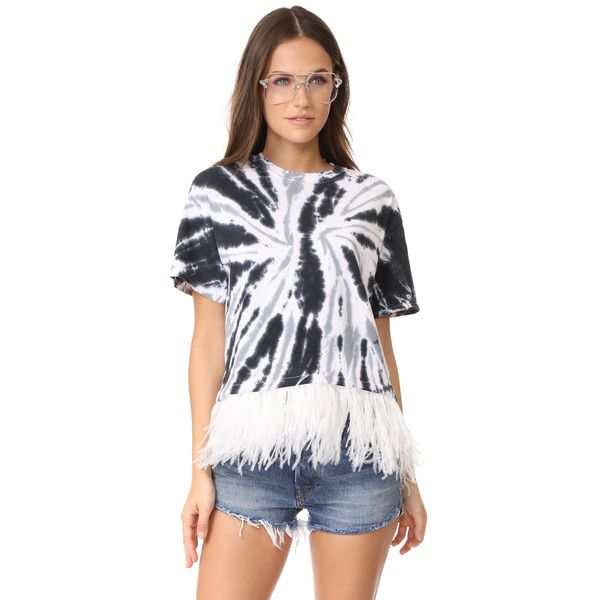 Opening Ceremony Cropped Feather Tee (495 BRL) ❤ liked on Polyvore featuring tops, t-shirts, black tie dye, cotton tees, tie dyed t shirts, short sleeve crew neck t shirt, crew t shirts and crew neck tee