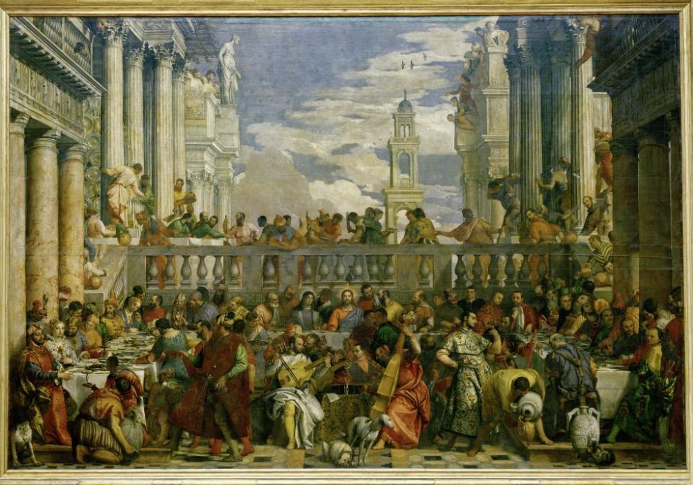 Die Hochzeit Zu Kana Ist Ein Gemalde Zum Thema Der Hochzeit Zu Kana Des Italienischen Malers Paolo Caliari Genannt Ve Idee Farbe Kunstproduktion Kunst Poster