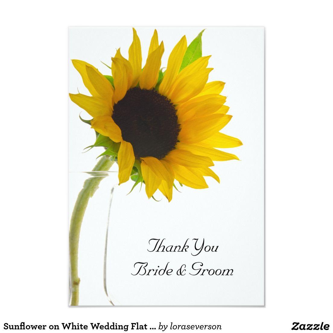 Sunflower on White Wedding Flat Thank You Notes Card | Sunflower ...