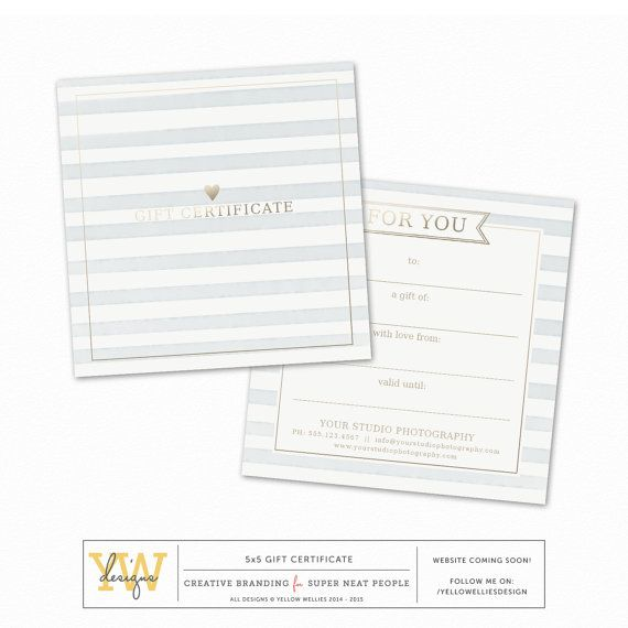Gift Certificate Template  Watercolor Stripes With Gold