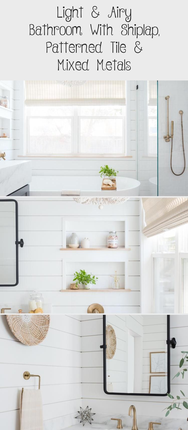 Photo of Light & Airy Bathroom With Shiplap, Patterned Tile & Mixed Metals – Decorations