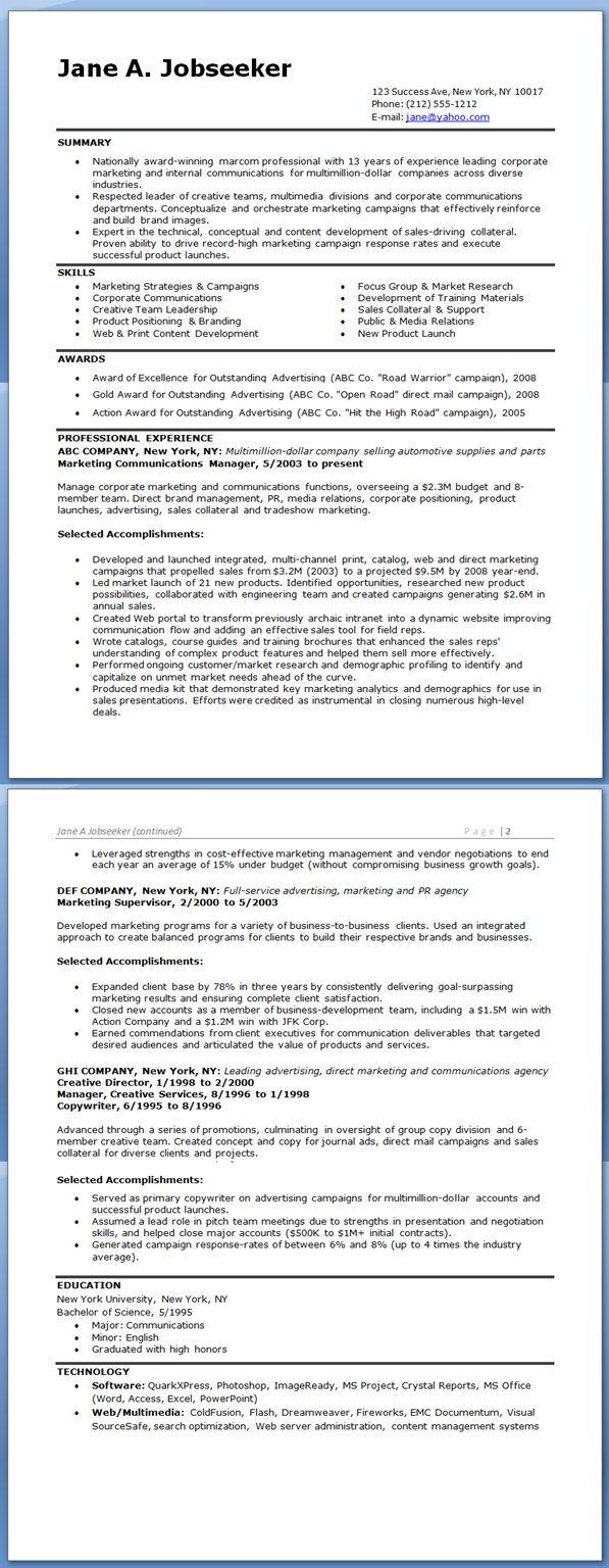 Resume for Marketing Communications Manager | Creative Resume Design ...