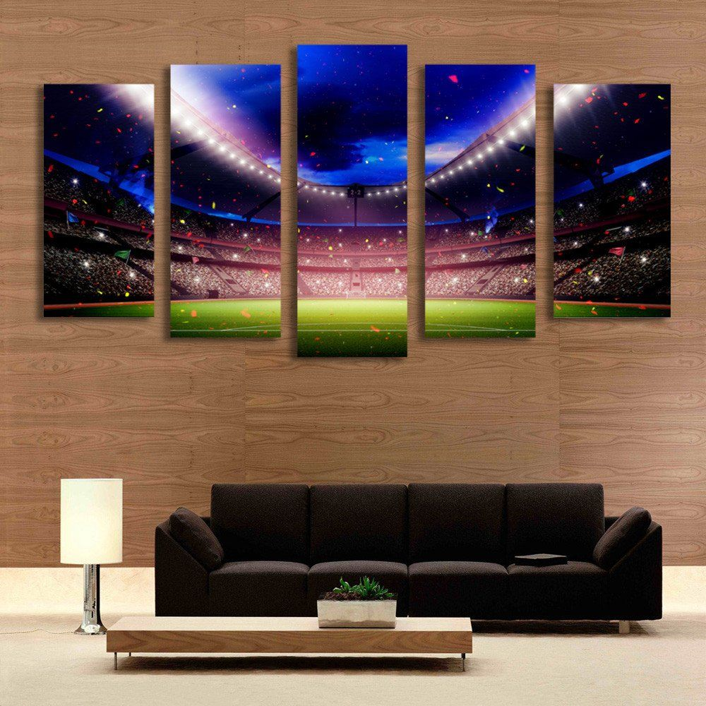Paintings Living Room 5 Panel Football Playground World Cup Picture Painting For Living