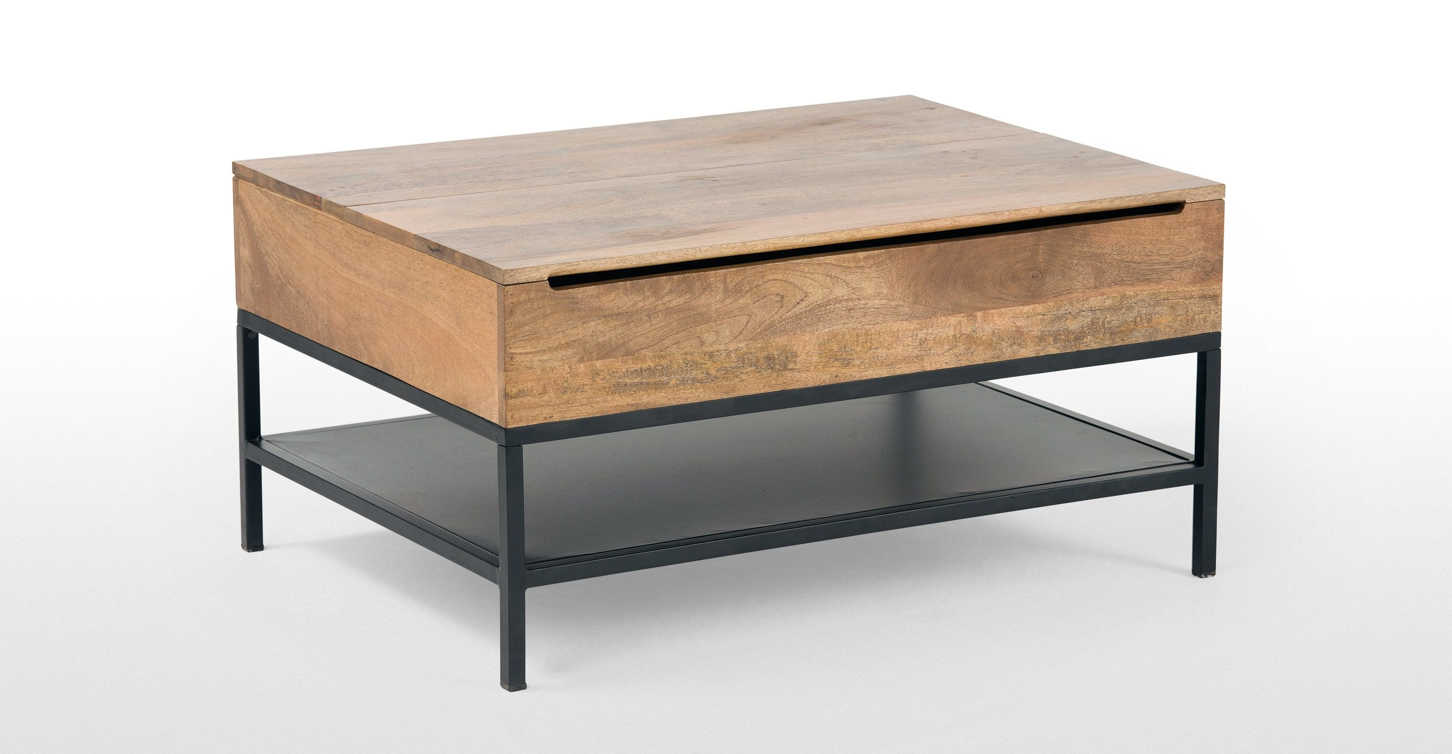 Lomond Lift Top Coffee Table With Storage Mango Wood And Black No
