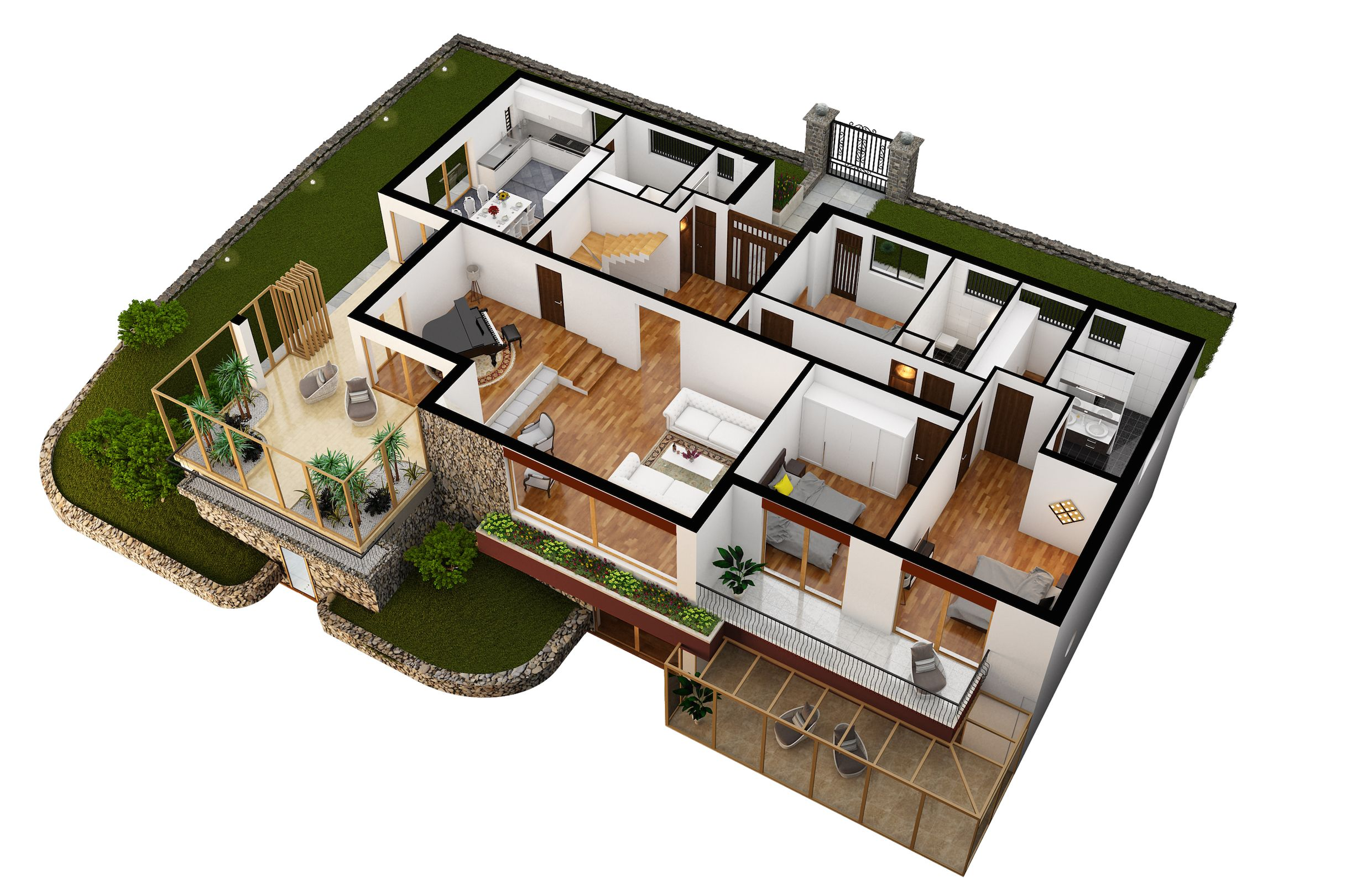 Main floor 3d plan of villa eureka lugano