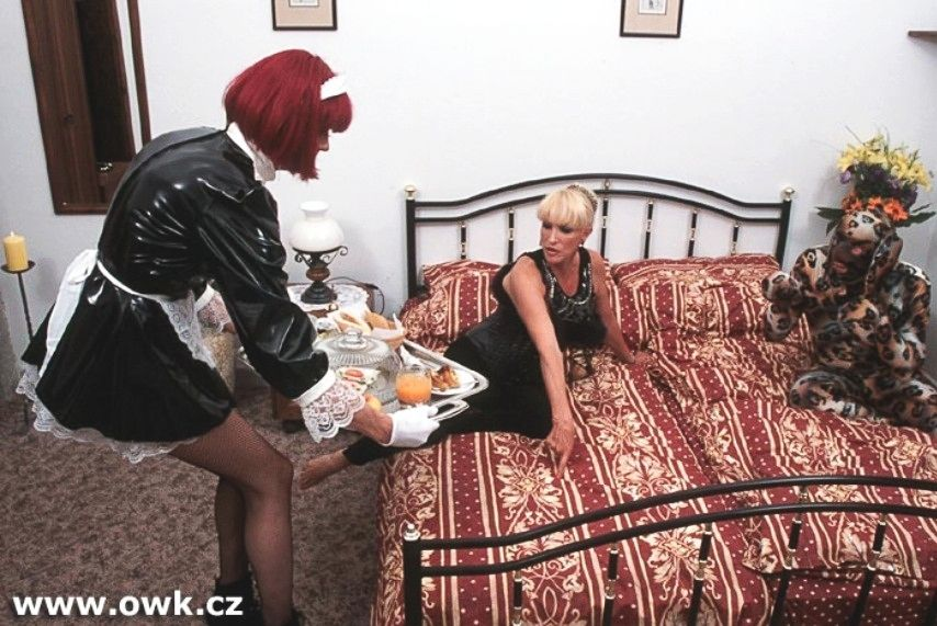 Maid starts to clean up mess made master and mistress
