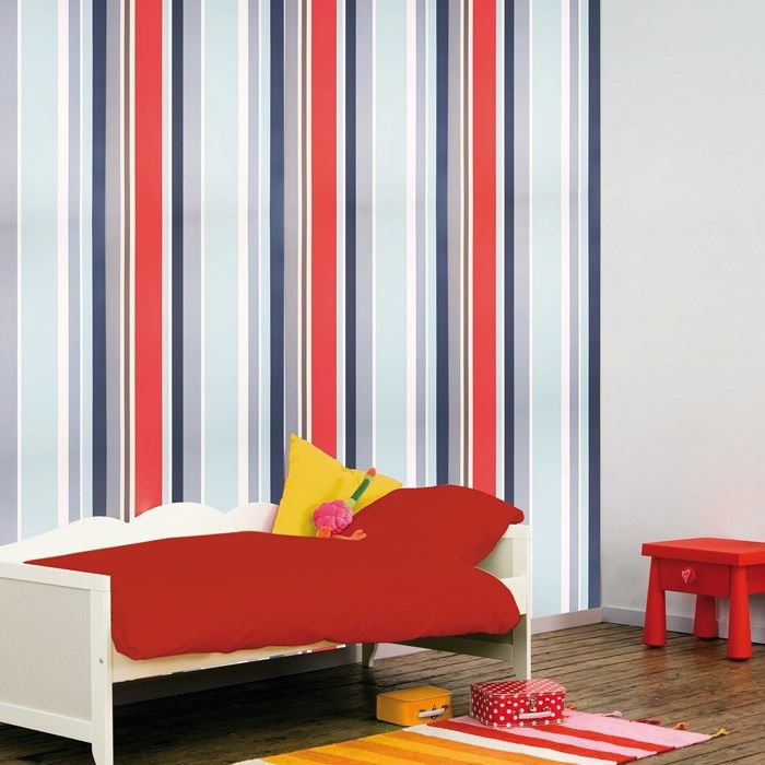 Long Island Stripe Red Blue White Wallpaper By Graham And Brown Striped Walls