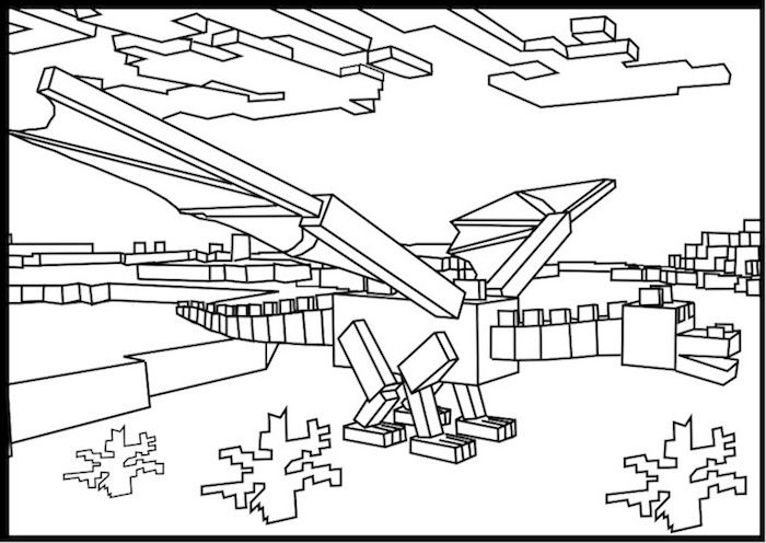 Printable Minecraft Ender Dragon Coloring Page Minecraft