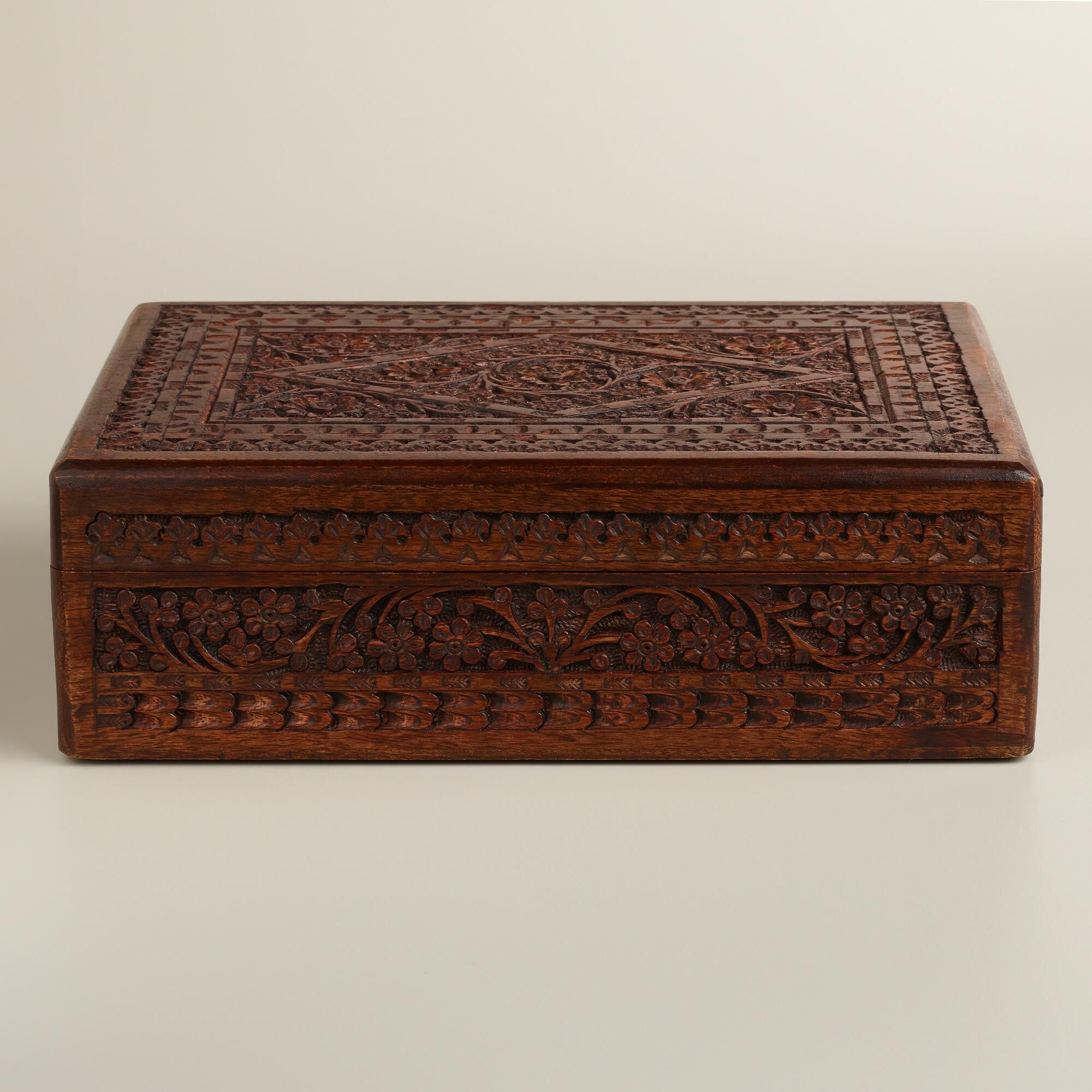 World Market Jewelry Box Amusing Espresso Carved Brooklyn Jewelry Box  World Market  Home Design Ideas