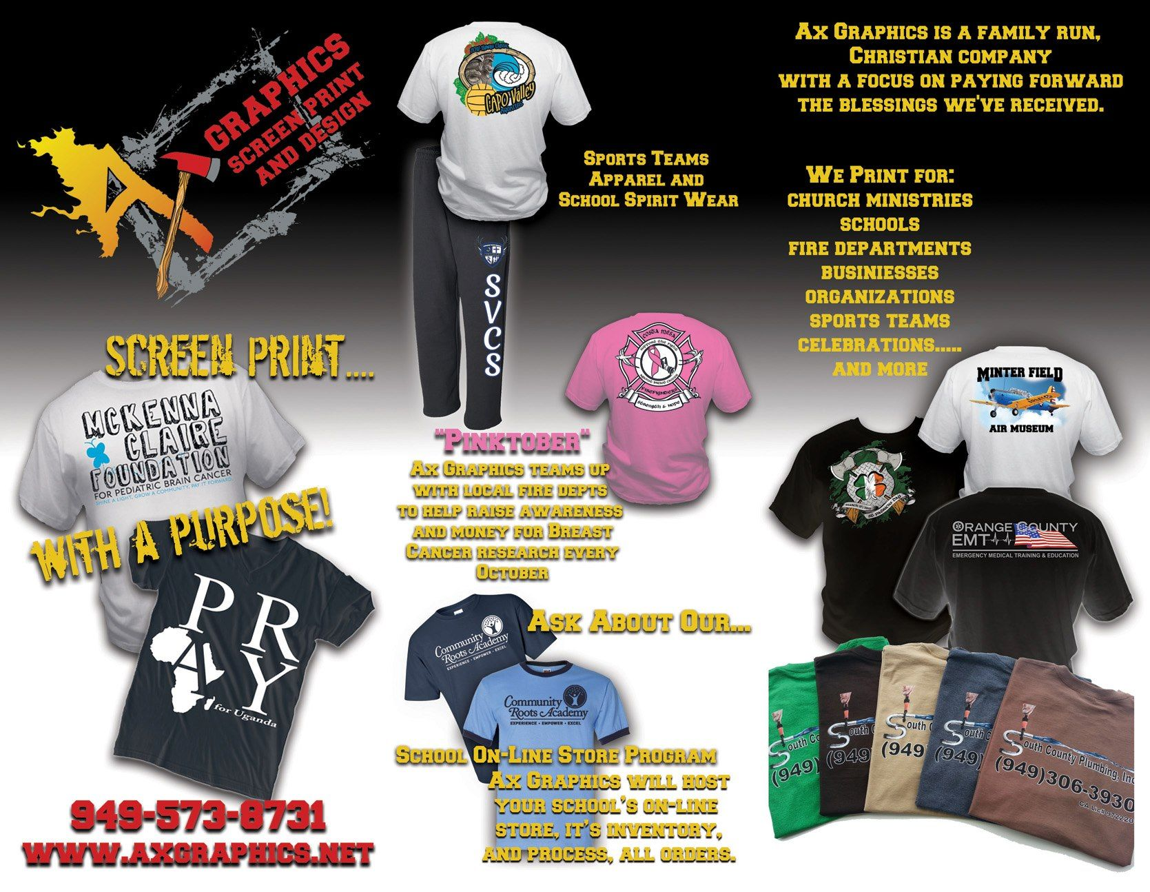 Design t shirt company - Ax Graphics Llc Brochure Showcasing Our T Shirt And Screen Print Designs Screen