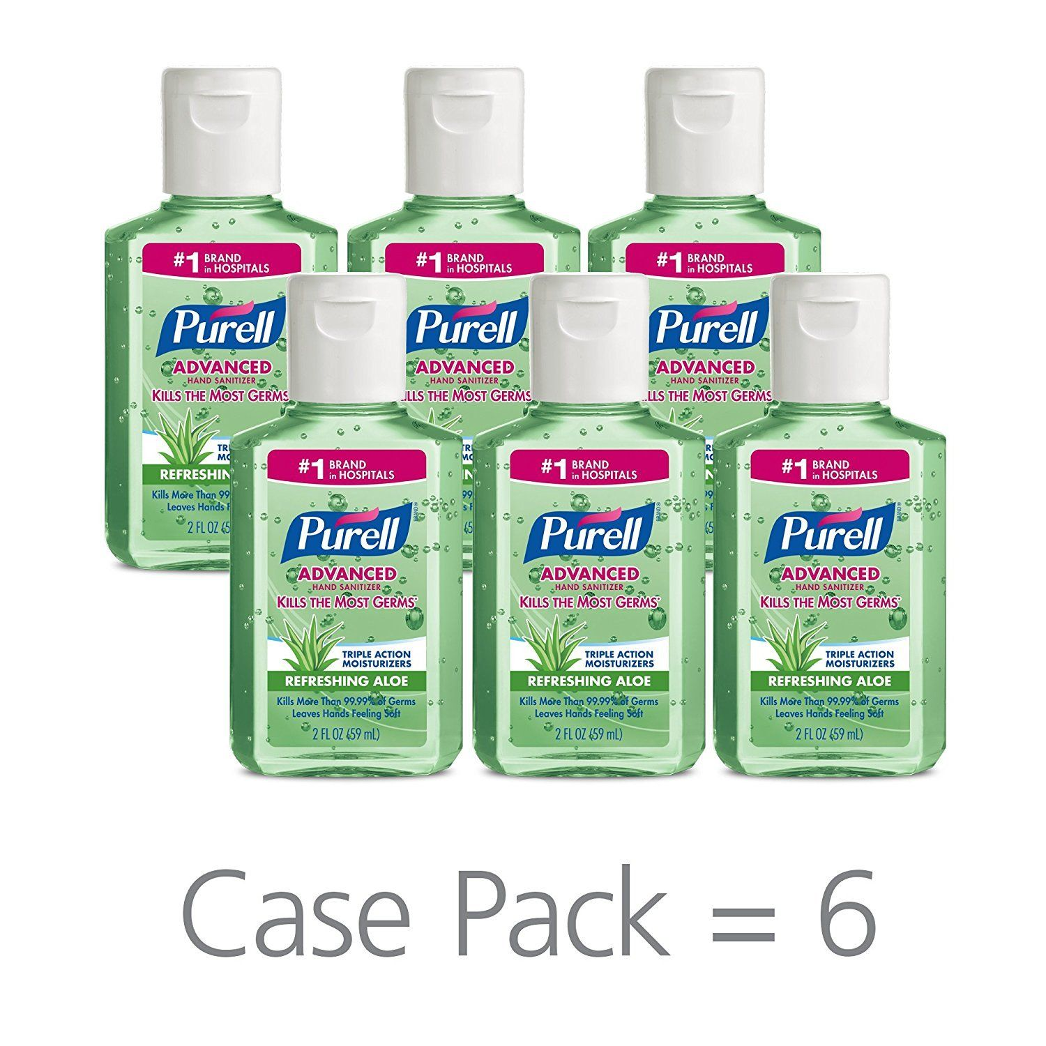 Purell Advanced Aloe Vera Gel Hand Sanitizer 2 Oz Pack Of 6