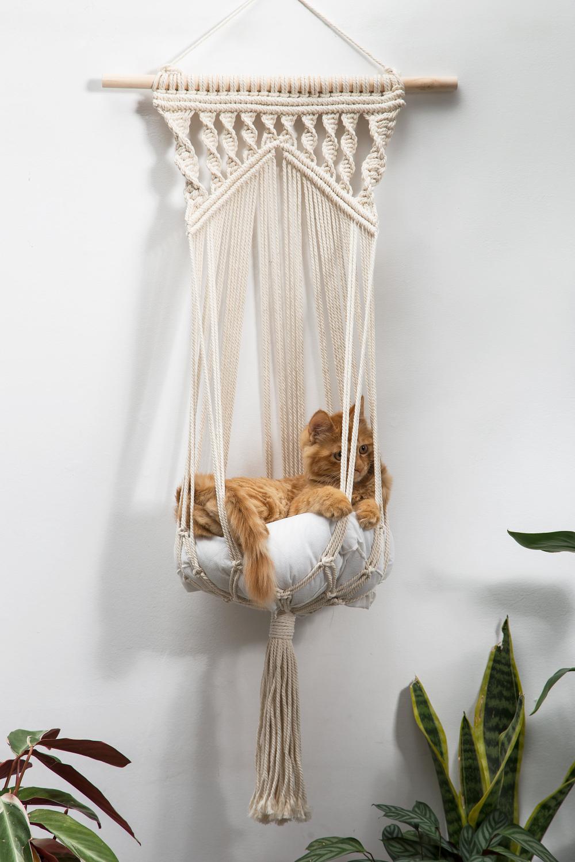 Macrame cat hammock Woven wall hanging dog bed Dip dye
