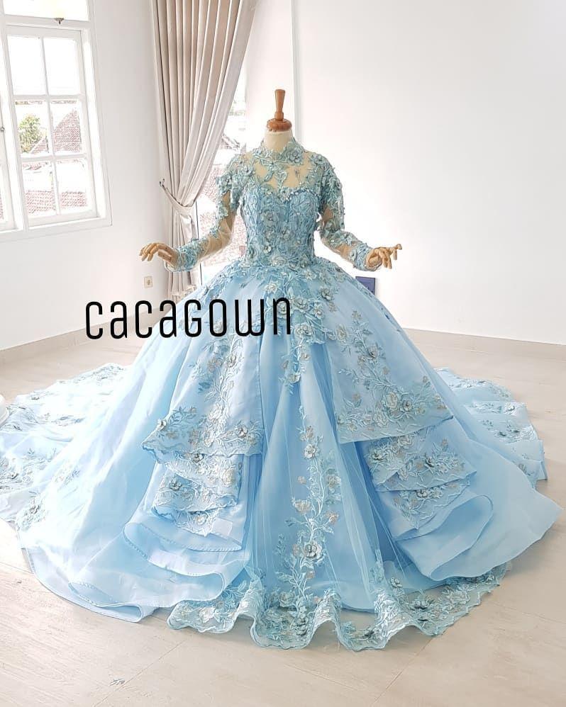 Gaun Pengantin Baby Blue By Caca Gown Gaun Pengantin Unik Dengan