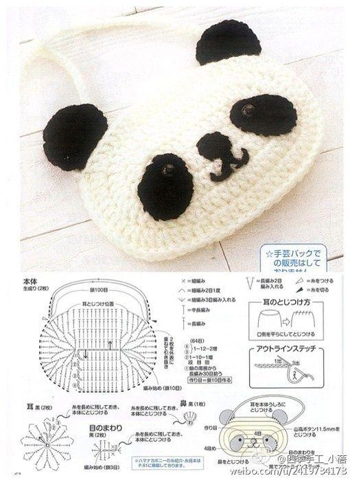 cartera panda :)   crochet   Pinterest   Croché, Ganchillo and Patrones