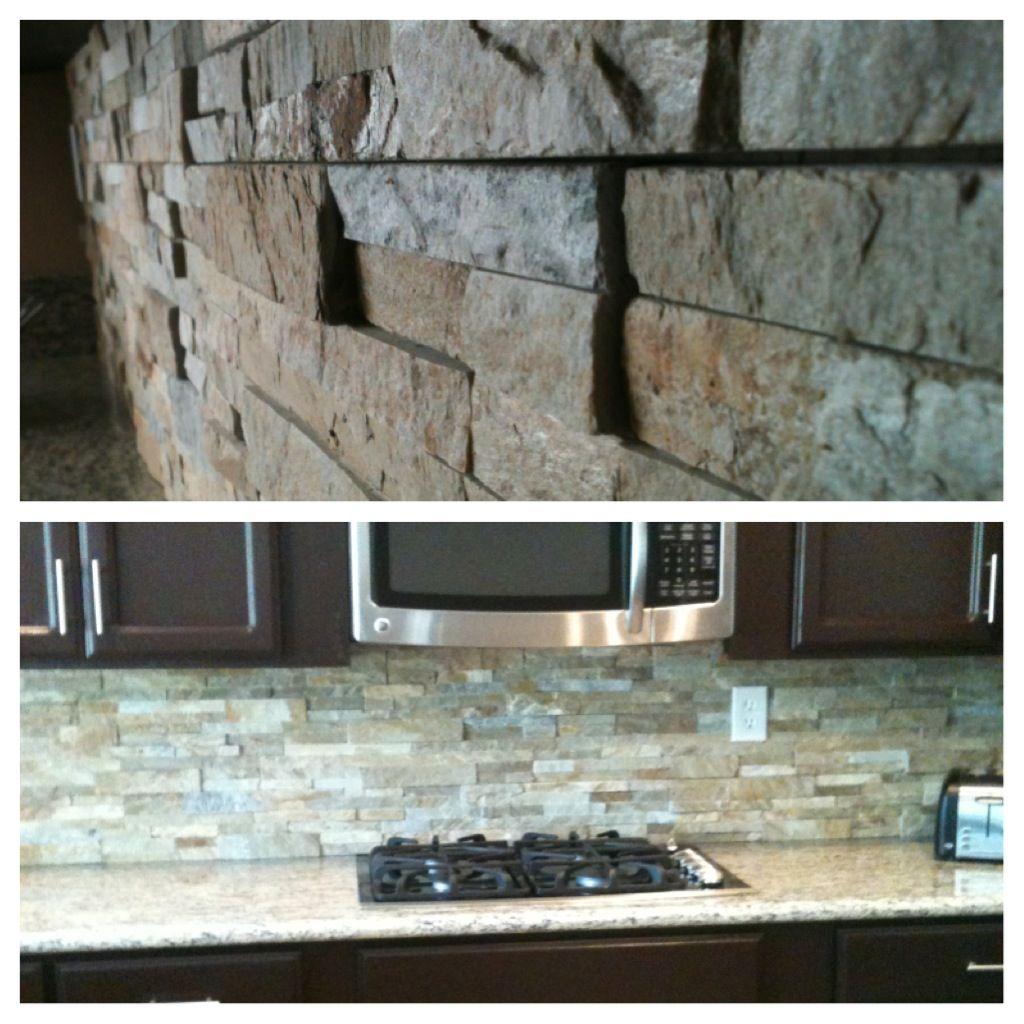 The New Stacked Stone Backsplash And Granite Countertops