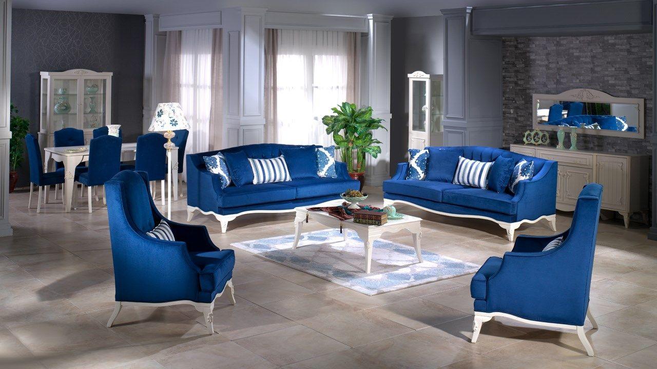 صالون بلو كلاسيك 2019 ب 24650 فقط لعشاق اللون الازرق بالفخامة والعراقة في التصميم و الفريد باختياراتك المتطلع Furniture Outdoor Furniture Sets Furniture Maker