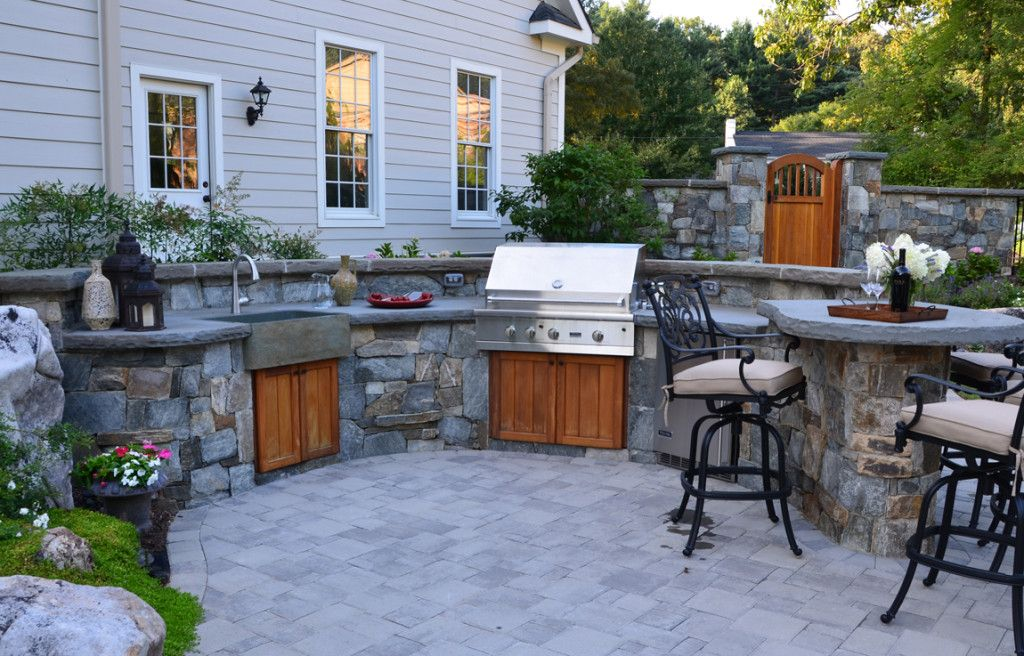 Open Air Outdoor Kitchen With Stone Farm House Sink Outdoor Kitchen Design Outdoor Kitchen Build Outdoor Kitchen