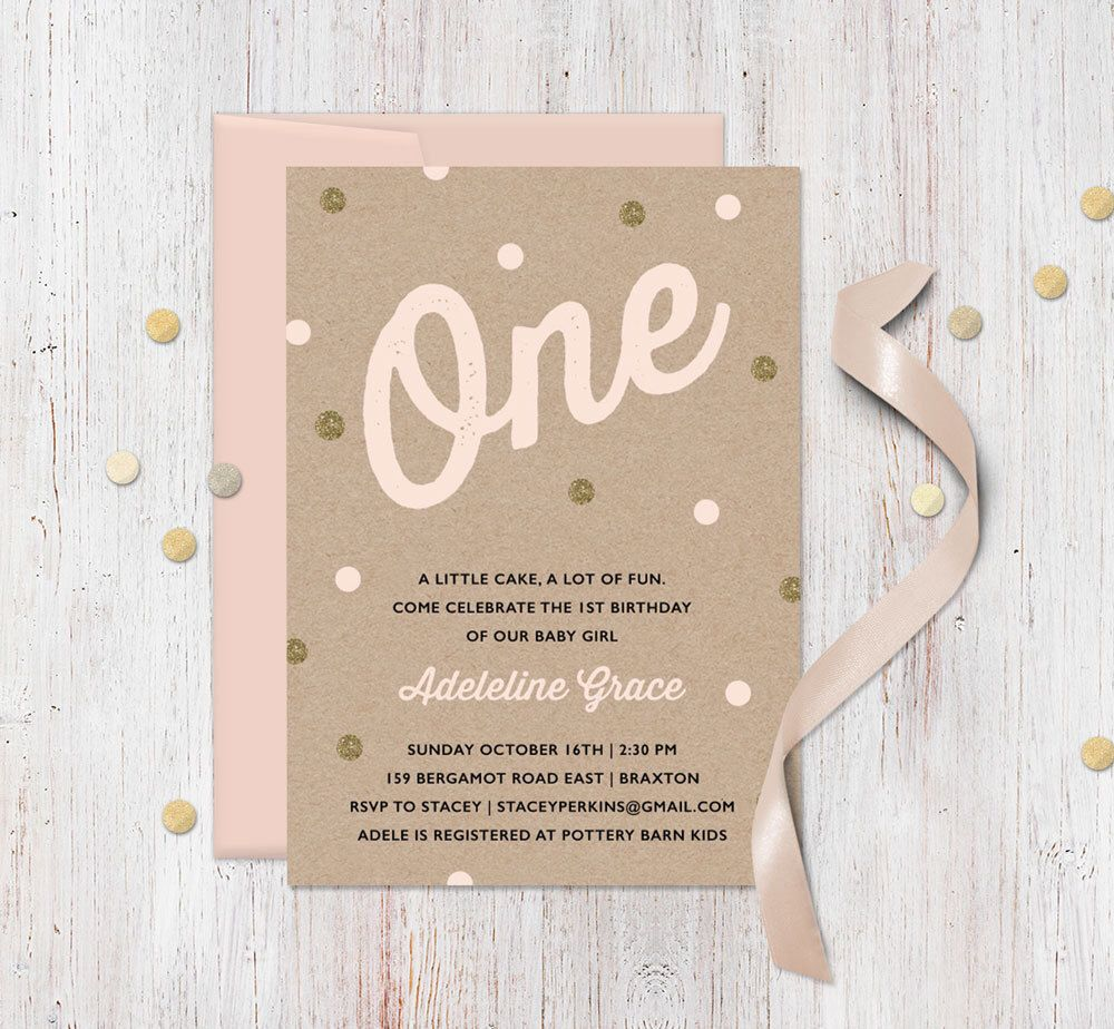 Pink Gold First Birthday Invitation Faux Kraft and Gold Glitter – Polka Dot First Birthday Invitations