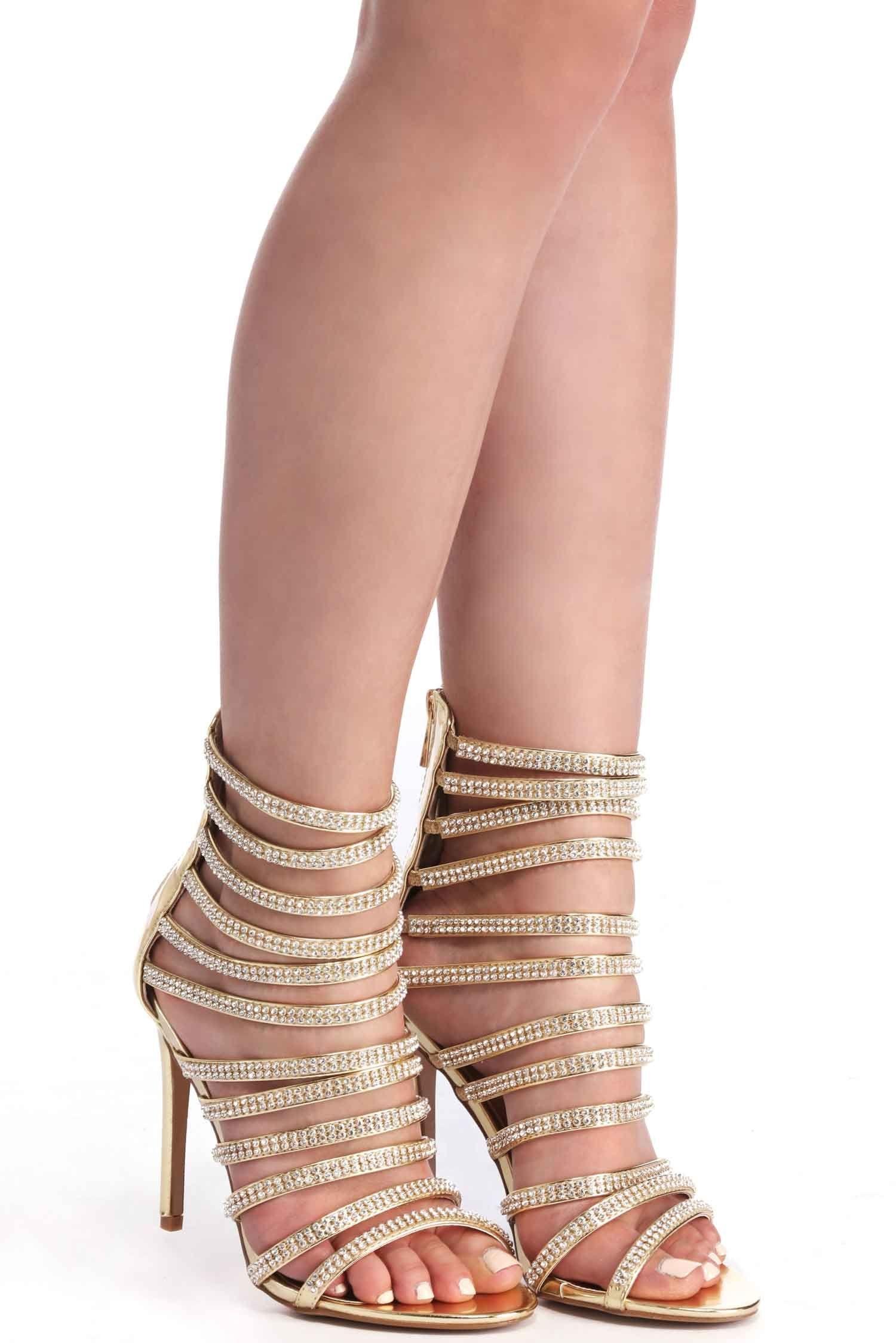 687aa4b392d Gold Strappy Rhinestone Heels
