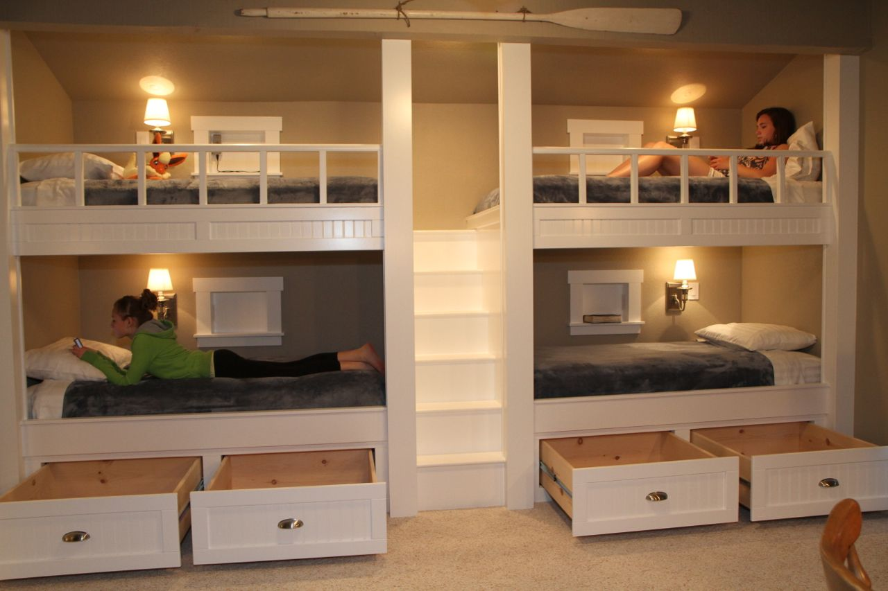 Quad Bunk Beds drawers open, one for each to house each