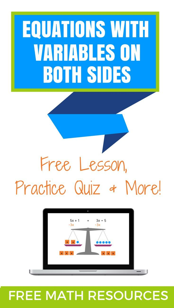 Solving Equations with Variables on Both Sides | Algebra lessons ...