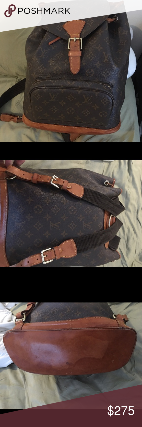 Louis Vuitton monogram backpack unisex This is nice LV backpack. There are water marks on the bottom leather. Some wear at the edges. Overall in nice condition. One of the straps is missing a second loop (each shoulder strap come with two loops) which doesn't affect usage. Date code is SP1011. You'll kids will love to go to school now. They might come home with a bloody nose due to some bully calling him a snob and punching him in the face, perhaps even knocking out a tooth. But no worries…