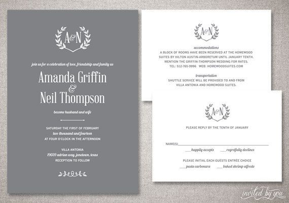Rustic Monogram Amanda Wedding Invitations Suite Laurel Wreath
