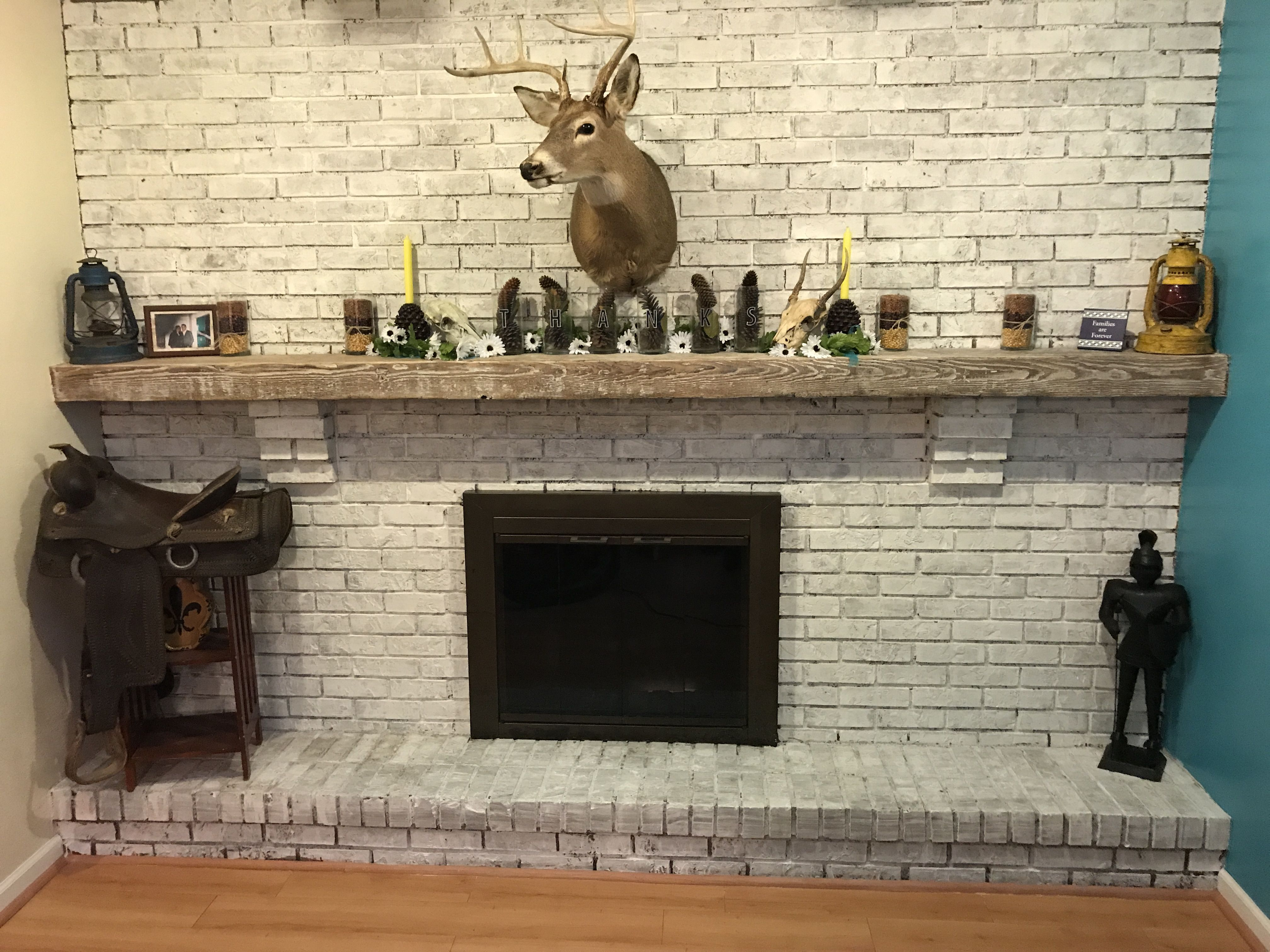 Fire Place Whitewash and Mantle Refinishing interior design