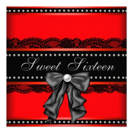 Red Black Sweet 16 Birthday Party Invitations