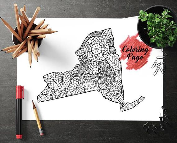 New York Map Coloring Page Coloring Page For Adult Map Coloring