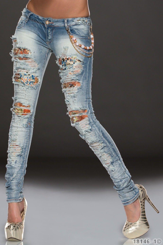 ausgefallene damen jeans hose mit vielen gewollten besch digungen sowie pailetten schuppen. Black Bedroom Furniture Sets. Home Design Ideas
