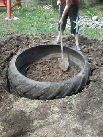 construire ce bassin avec juste un pneu! | koi