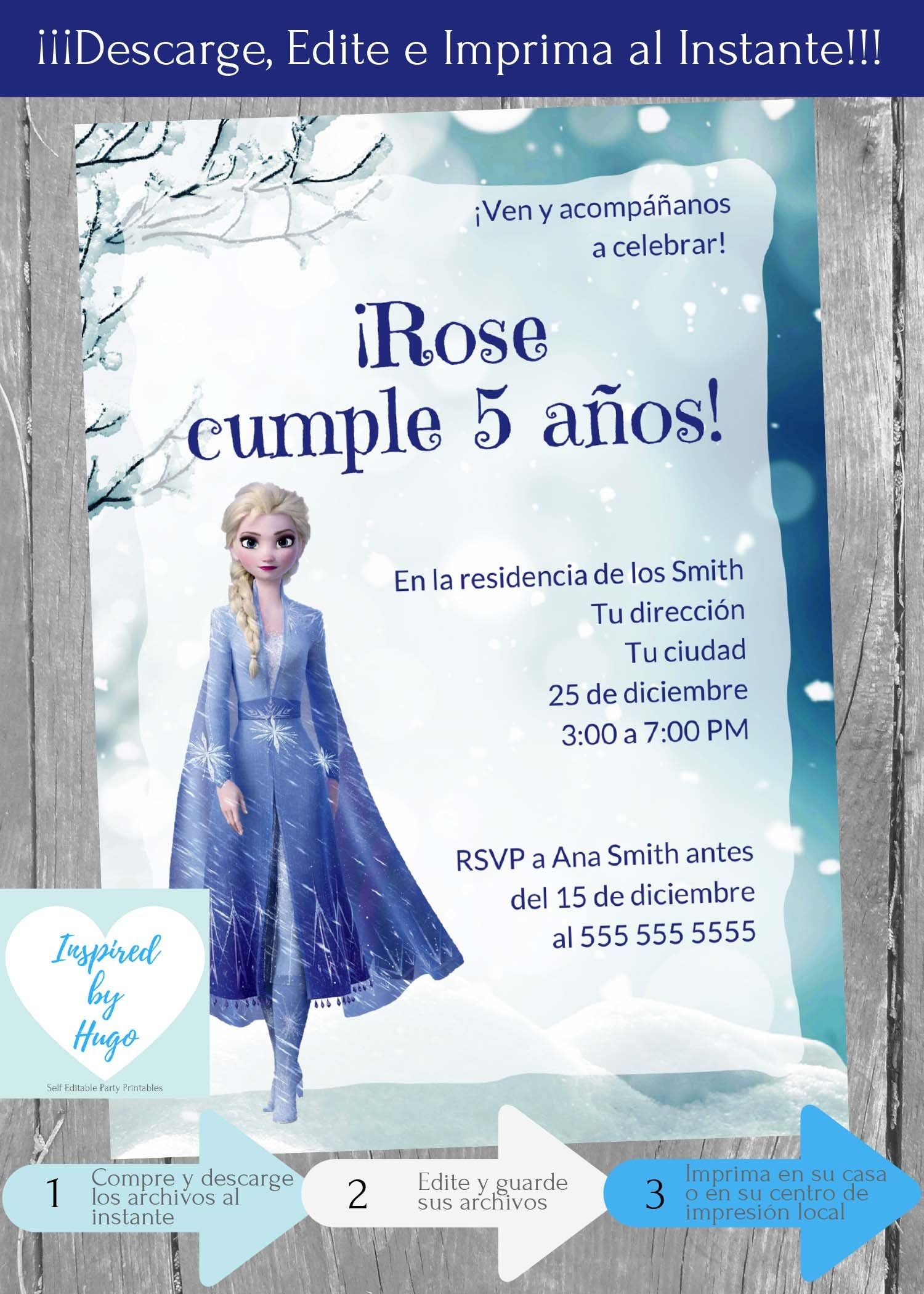 Invitacion Frozen 2 Fiesta Cumpleanos Invitacion Disney Etsy 2nd Birthday Invitations Birthday Invitations Editable Invitations