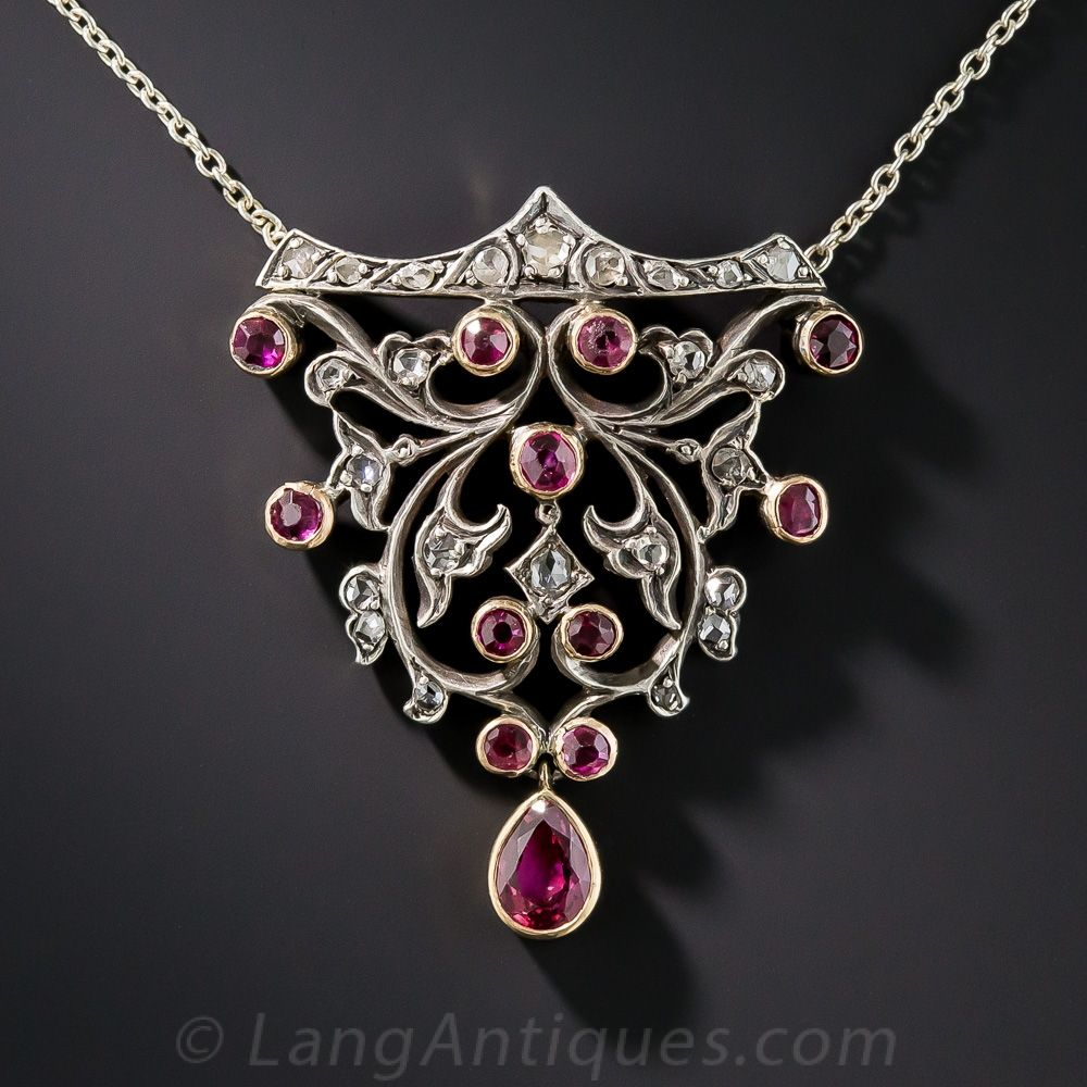 Victorian ruby and rosecut diamond pendant necklace