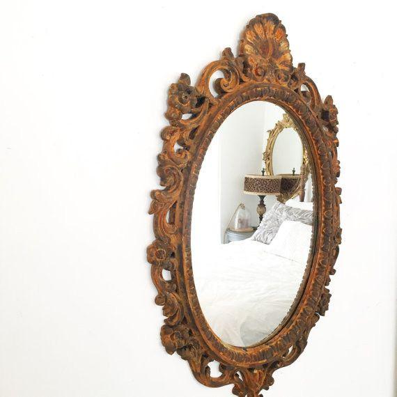 Bathroom Mirror Ornate Mirror Baroque Mirror Vanity Mirror Antique Vintage Rust Painted