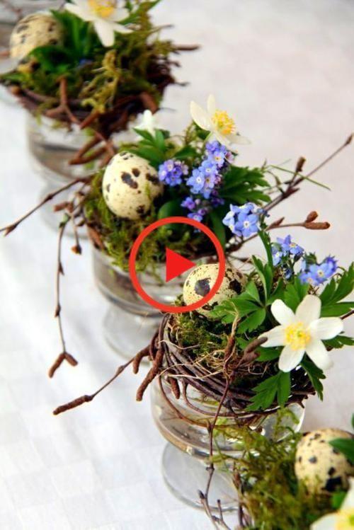 Pasen Pasen Tabel mos kwarteleitjes bloemen voorjaar decoratie # # # frühlingsd ... bloemen # #