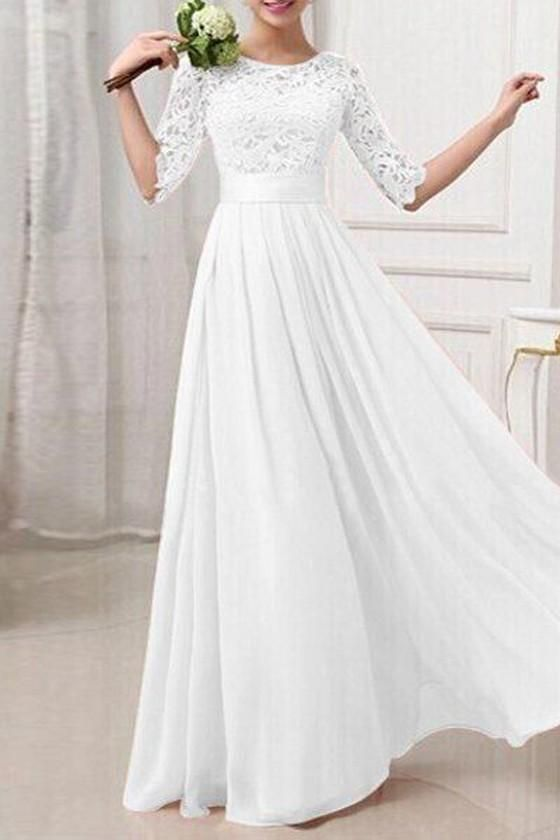 White Plain Hollow-out Long Sleeve Elegant Maxi Dress   Brautkleid ...