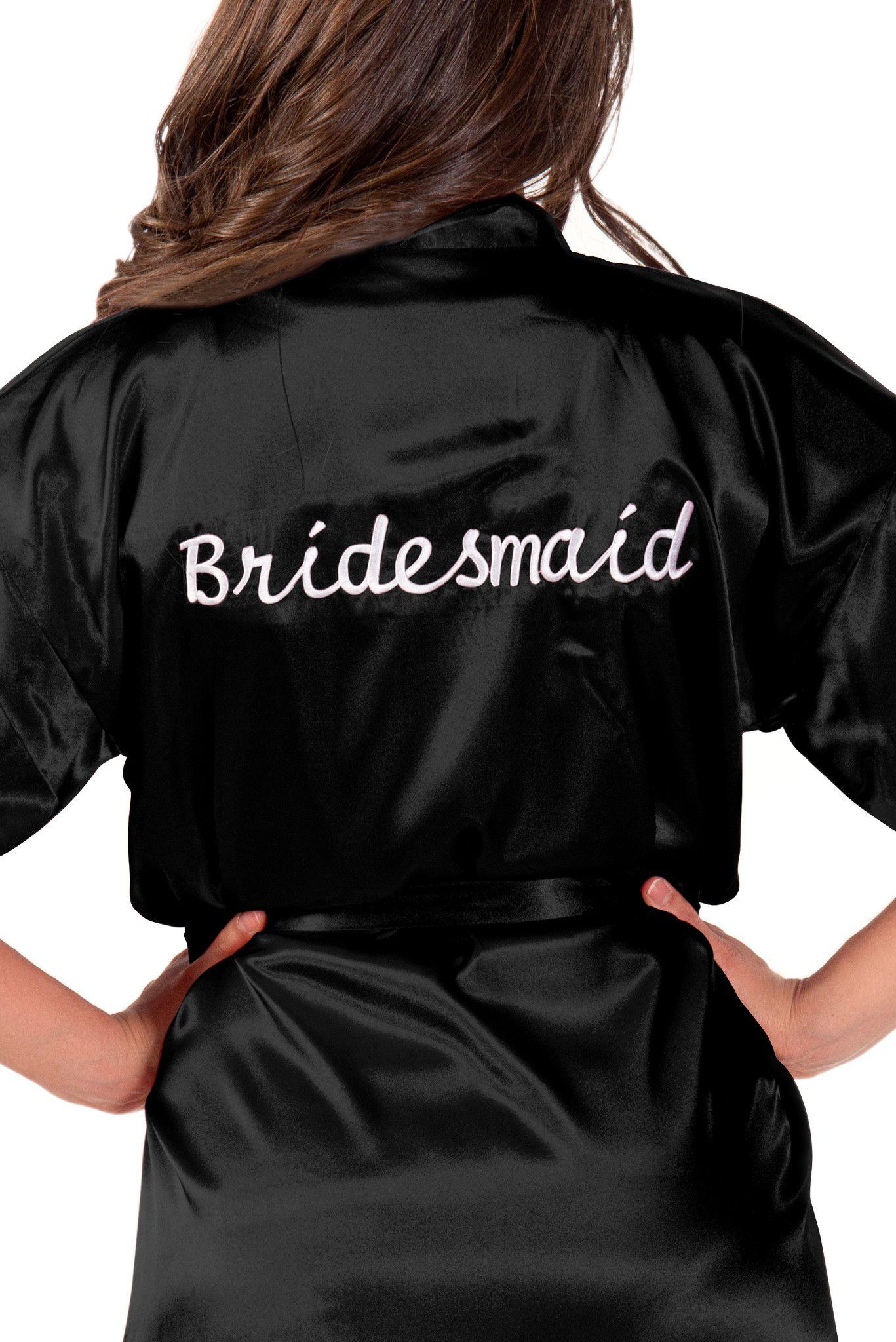 Bridal Party Title Embroidered Kimono Robe (more color options)