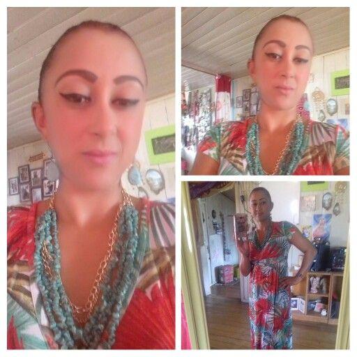 Maxi vestido acessórios turquesa