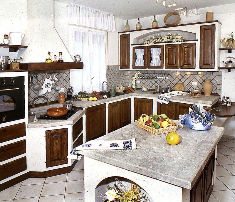 Composizione cucina nicchia con fiori cucine rustiche home furnishings kitchen design e - Idee cucine in muratura ...