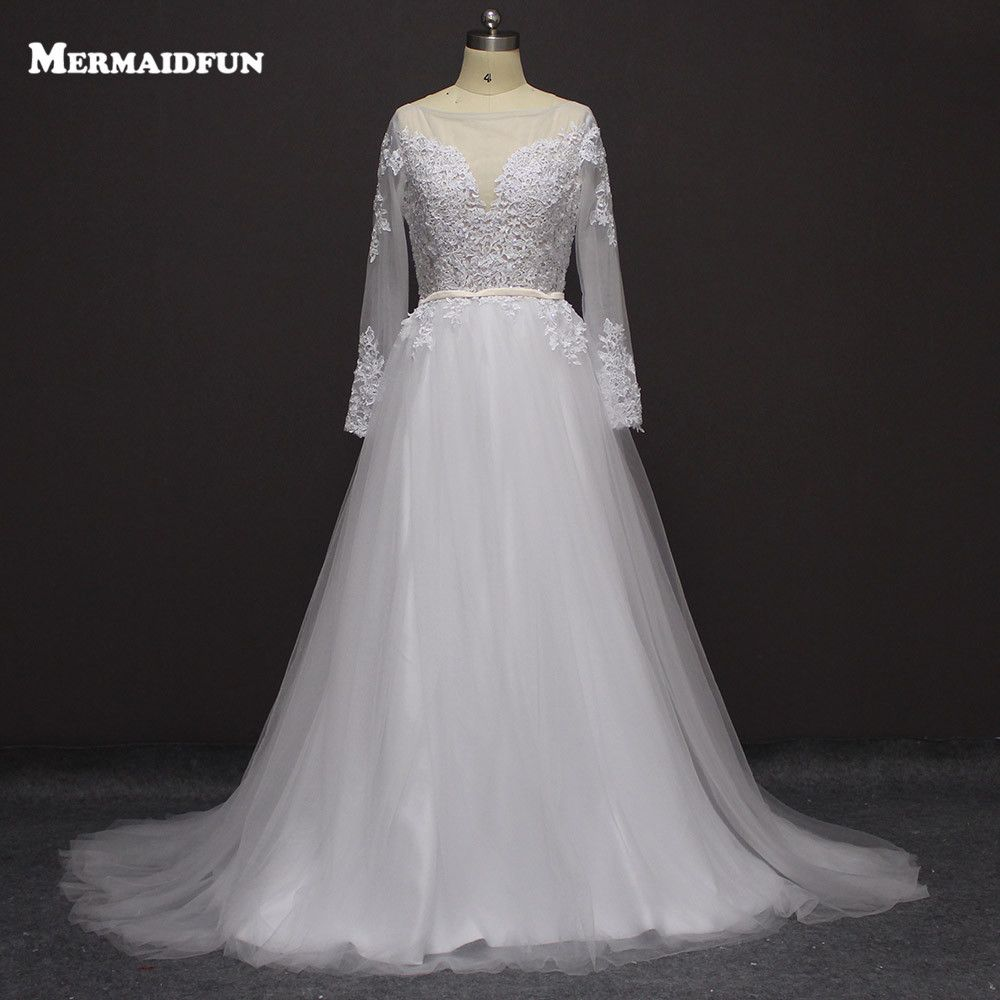Long sleeve black wedding dresses   A Line Long Sleeve Sheer Neck Sexy Backless Boho Wedding