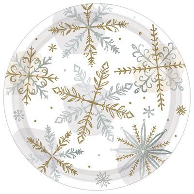Amscan Christmas Shining Snow Paper Appetizer Plate Products