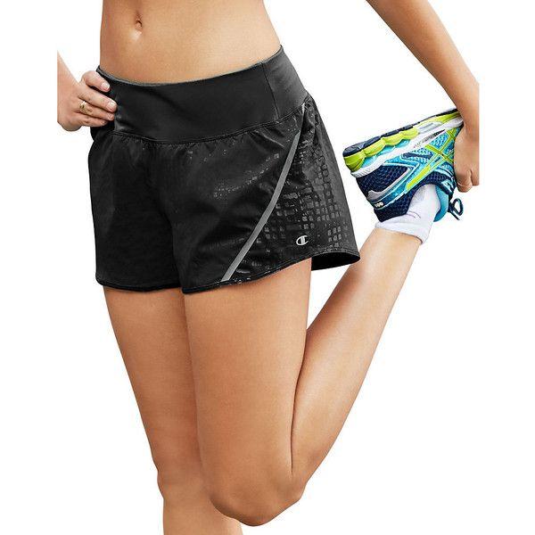 Champion Marathon Embossed Women's Shorts - Back Zip Pocket - Black - XS-XL