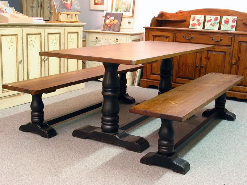 Harvest Table And Benches Made By Treasures With Bench Legs Turned Century