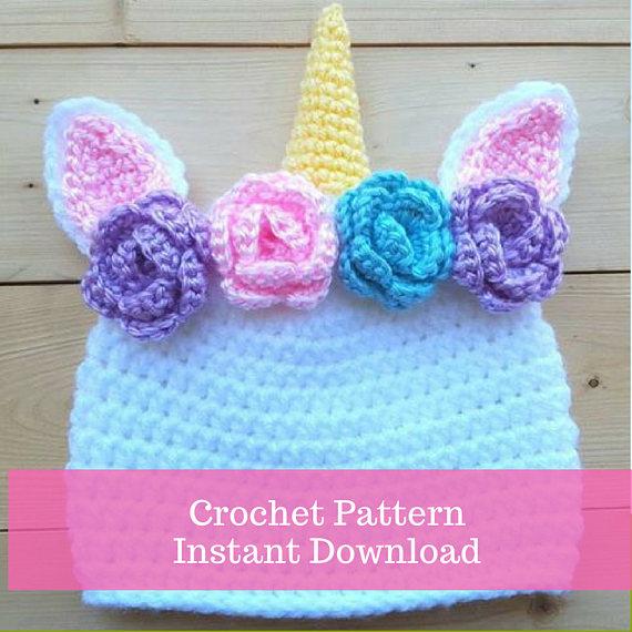 Crochet Unicorn Hat Pattern - crochet baby hat - crochet instant ...