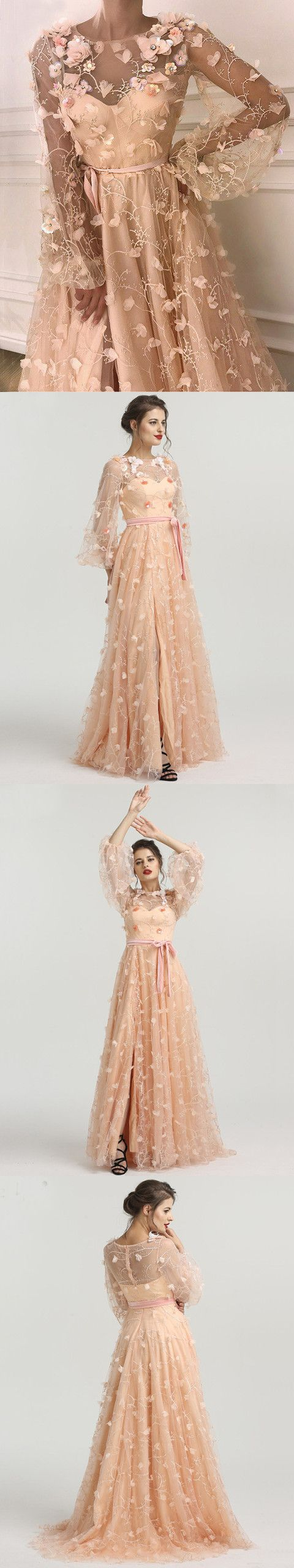 Chic aline scoop long sleeve prom dress with floral prom dresses