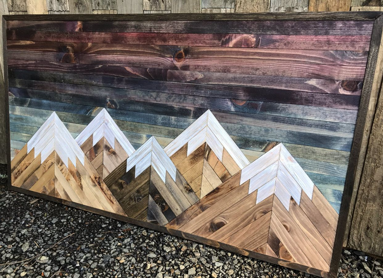 Large rustic sunset five mountains wood wall art in 2020
