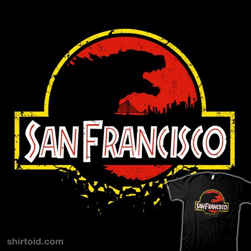 """San Francisco"" by JBaz. Godzilla design in the style of Jurassic Park. [Sold at Once Upon A Tee]"