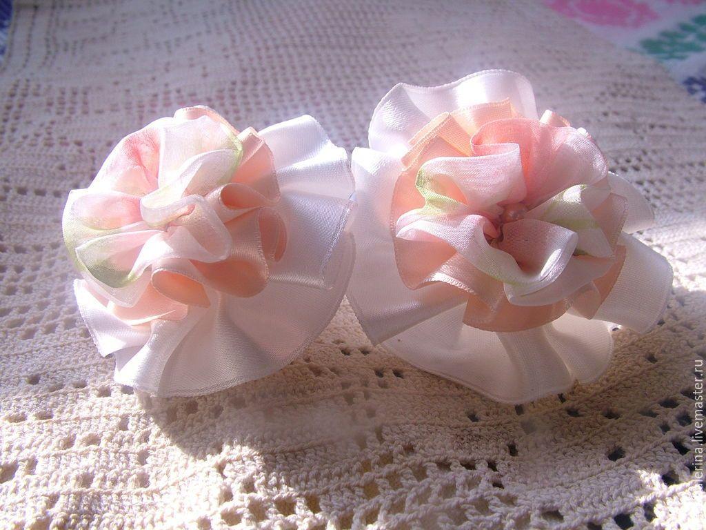 Купить Бантики для волос Бело-розовый зефир - бело-розовый, резинка для девочки…