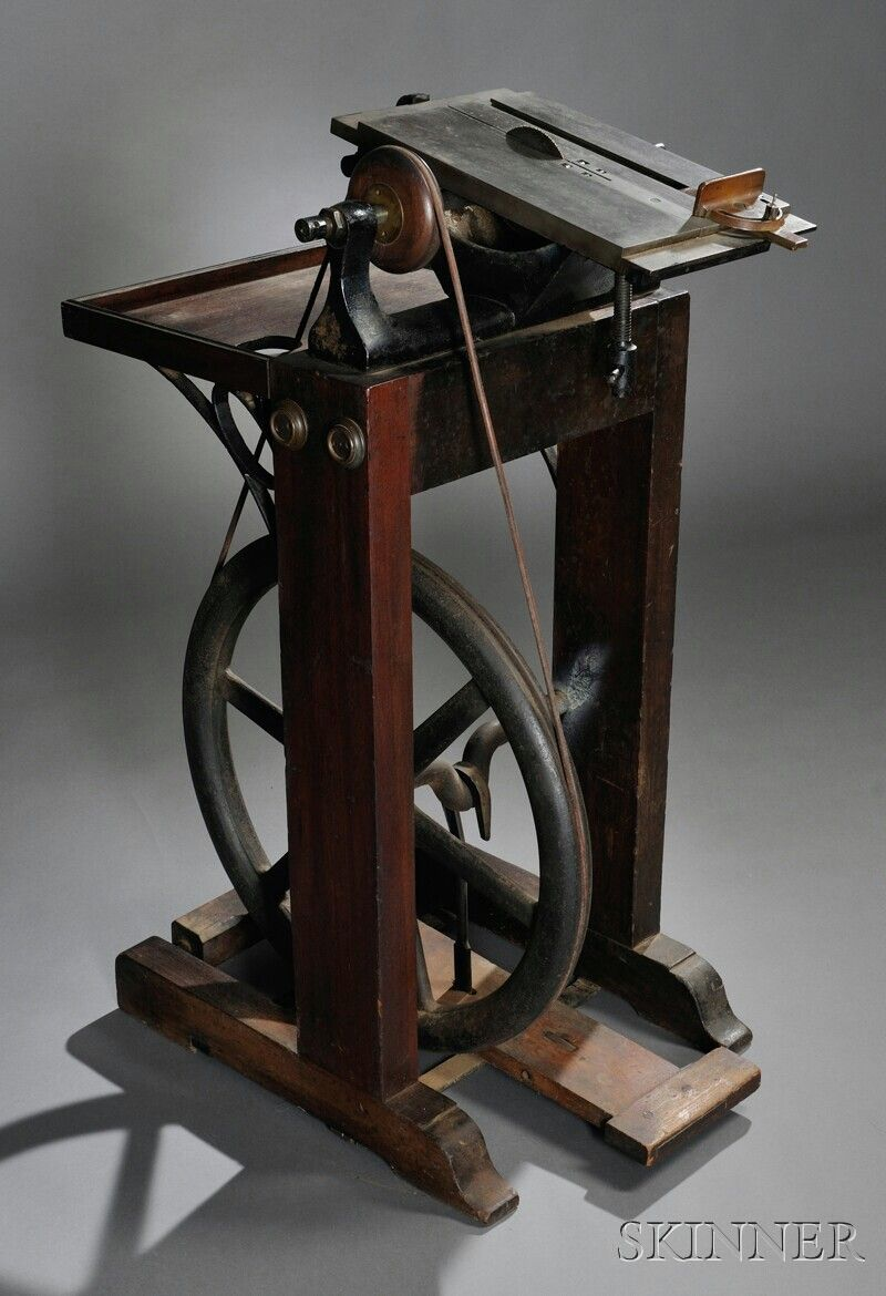 Treadle Powered Table Saw Antique Woodworking Tools Woodworking